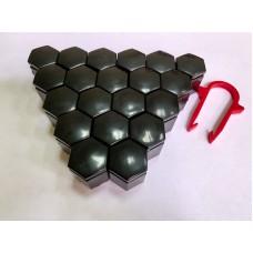 Колпачки на колесные болты, пластиковые, цвет черный, М 17 - 22366